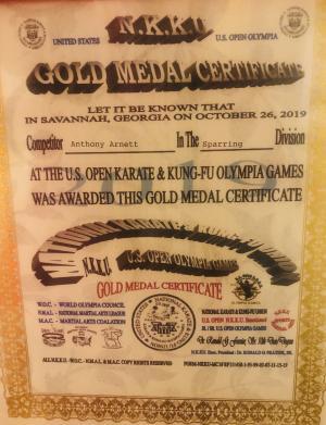 Gold medal in sparring